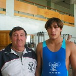 Тренер В. Окопный со своим внуком